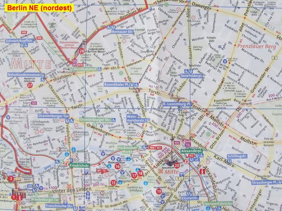 Kort Over Berlin Centrum Med Indkvarteringsmuligheder